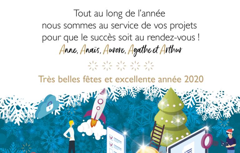 Tout au long de l'année, l'équipe AS connect évènement est au service de vos projets, pour que le succès soit au rendez-vous ! Anne, Anaïs, Aurore, Agathe et Arthur vous souhaitent de très belles fêtes et une excellente année 2020 !